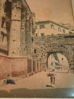 Lovely late 19th Cent. Watercolor Old Rome, Italy Signed A. Negrossi Roma, MB324