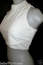 NWT bebe white zipper back textured sexy sleeveless mini dress top S small 4