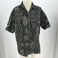 COOKE STREET - MEN'S XL - BLACK  HAWAIIAN BUTTON SHORT SLEEVE SHIRT