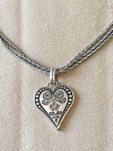 Brighton Necklace Silver Heart Pendant Reversible TRIPLE Wheat Chain 16-18 In