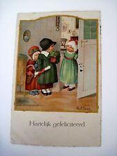 """Vintage Pauli Ebner Postcard """"Congratulations"""" In Dutch w/ Children *"""