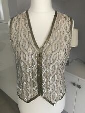 Frank Usher Cream Silver Gold Sequin Waist Jacket Size S 12-14 Evening Sparkle