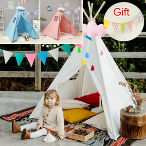 160CM Large Canvas Children Tent Teepee Kids Wigwam Indoor Outdoor Play House UK