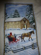 "WINTER SNOW SCENE Fabric Cotton Large Panel Craft Quilting SLEIGH RIDE 24""x 44"""