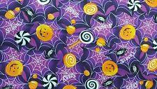 "Halloween Purple Spider Web Pumpkin Candy 100% cotton 44"" fabric by the yard 36"""