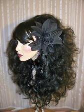 Drag Queen Wig Big Teased Out Long Curls Jet Black Heavy Bangs
