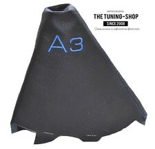 """For Audi A3 2001-2012 Gear Boot Black Genuine Leather """"A3"""" Blue Embroidery"""