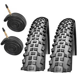 Mountain Bike Tyres & Presta Tubes 26 x 2.1 Schwalbe Rapid Rob Cycle Tires Pair