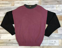 VTG 90's FLUID Men's M Bright Color Block Knit Sweater Cosby Biggie Purple