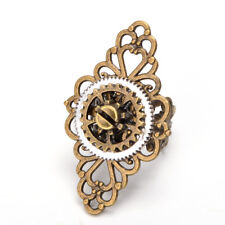Vintage Victorian Steampunk Gear Floral Ring Bronze Gothic Punk Adjustable Ring