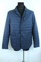 MASSIMO DUTTI BNWT Navy Blue Snap Closure Men Light Puffer Jacket Size 2XL