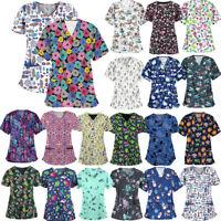 Women's Nursing Scrub Tops Printed Medical Uniform Merry Christmas Flower Shirt