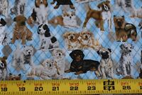 By 1/2 Yd, Cute Dogs on Blues & Tan Diamonds Quilt Cotton, David Textiles, N2532