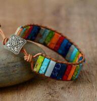 Armband 7 Hauptchakren Chakra Gleichgewicht Leder Stein Bunt Damen Bracelet