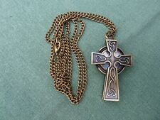 Celtic Cross Watch Fob Pendant Necklace with Chain - Antique Bronze Effect NEW