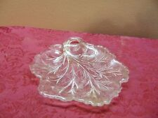 INDIANA PEBBLE LEAF CLEAR GLASS TWIGGY PLATE/CANDY DISH  W/HANDLE VINTAGE