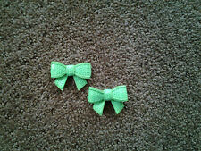 Bow - Bright Lime Green Sequin Embroidered Applique Patch - Set Of 2