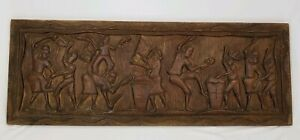 Vintage Carved Wood Folk Art Relief Panel Wall Plaque Hanging Ethnic Tribal 40""