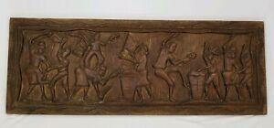 "Vintage Relief Panel Wall Sculpture Ethnic Tribal Folk Art Carved Wood 40"""