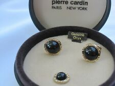 Pierre Cardin Small Round Cufflinks & Tie Tack, Gold-Tone w/ Onyx, New Old Stock