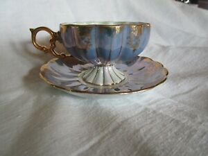 Royal Sealy China Footed Teacup & Saucer, Periwinkle & Gold, Luster-ware