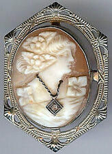 *ANTIQUE 14K GOLD FINELY CARVED SHELL DIAMOND NECKLACE LOVELY LADY CAMEO PIN*