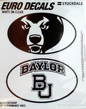 Baylor Bears 2-Pack EURO STYLE Vinyl Oval Home Auto Decals Sticker University of