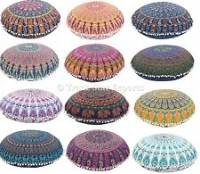Wholesale Lot set of 20 Mandala Round Floor Pillow Cover Indian Ottoman Cushion