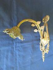 Applique électrique support griffe pour tulipe laiton doré noeud fleurs ancien