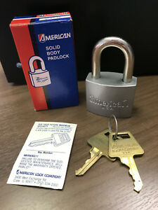 Vintage American Lock Padlock, Model # 205, KD, NOS, RARE Silver Body