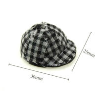 1:12 Miniature Plaid Cap Dollhouse Diy Doll House Decor Accessor FE