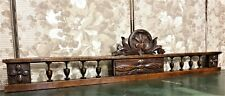 Spindle shell scroll leaf carving pediment Antique french architectural salvage