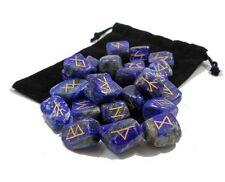 LAPIS LAZULI Gemstone Rune Set w/ FREE Velvety Pouch wicca pagan runes stone