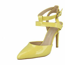 Ladies Anne Michelle Patent Court Shoes F9760 Label K Yellow UK 5 Standard