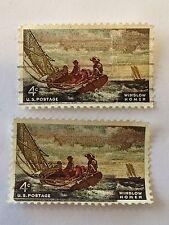 2 1962 U.S. Postage, Winslow Homer 4C/Cents Stamps, Scott #1207 MINT Condition