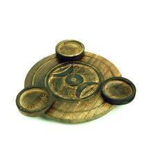 CIRCULAR WOOD 3 CANDLE/TEALIGHT HOLDER TRIPLE MOON  OCCULT/ PAGAN/ WITCH NEW