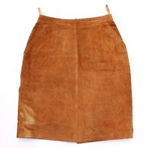 Women's Vintage High Waist Brown Tan 100% Leather Straight Pencil Skirt UK4 W24