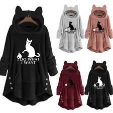 Womens Fleece Hooded Sweatshirts Hoodie Cat Pullover Tops Plus Comfy Sleepwear