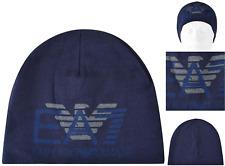 EMPORIO ARMANI Gorro italiano Eagle DK Azul Talla M cráneo casquillo BNWT RRP £ 55