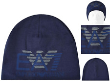 EMPORIO ARMANI Beanie Hat Italian EAGLE Dk Blue Size M Skull Cap BNWT RRP£55