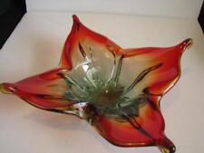 Vintage Murano Art Glass Centerpiece Square Form Red to Green