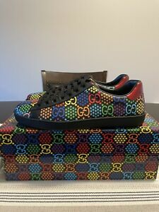 Gucci Ace Sneakers Psychedelic Mens Shoes monogram NIB size 10G 11US