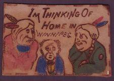 More details for winnipeg, canada - edward vii era novelty leather postcard to droxford, uk.