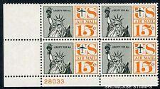 "Scott # C63a 1961 Statue of Liberty Airmail ""TAGGED"" Plate Block Mint NH"