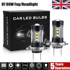 2X H7 LED Headlight Fog lights 80W Car Bulbs Kit 6000k CREE