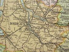 1919 LARGE MAP ~ FRANCE SOUTH WEST ~ BORDEAUX LANDES INSET AGRICULTURE