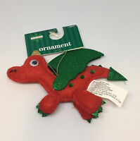 Christmas tree ornament Red Green Dragon New Sweet Tidings Felt Stitched