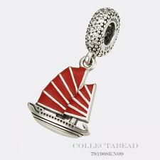 Authentic Pandora Silver Chinese Junk Ship Red Enamel CZ Dangle 791908EN09