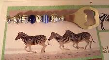 Sweet Silver Blue Zebra Beads Beaded Bottle Opener