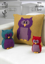 KING COLE PATTERN 9016.  OWL TOY,  OWL DOORSTOP & OWL CUSHION.  DOUBLE KNITTING.